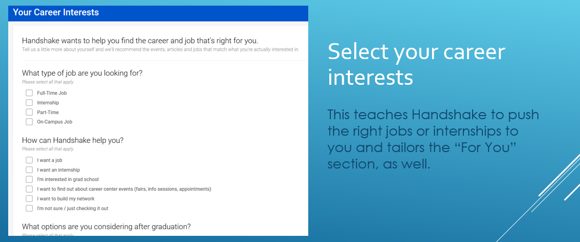 photo of career interests section