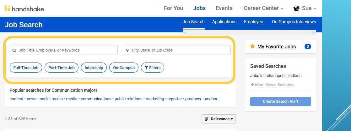 Photo of Handshake's job search page